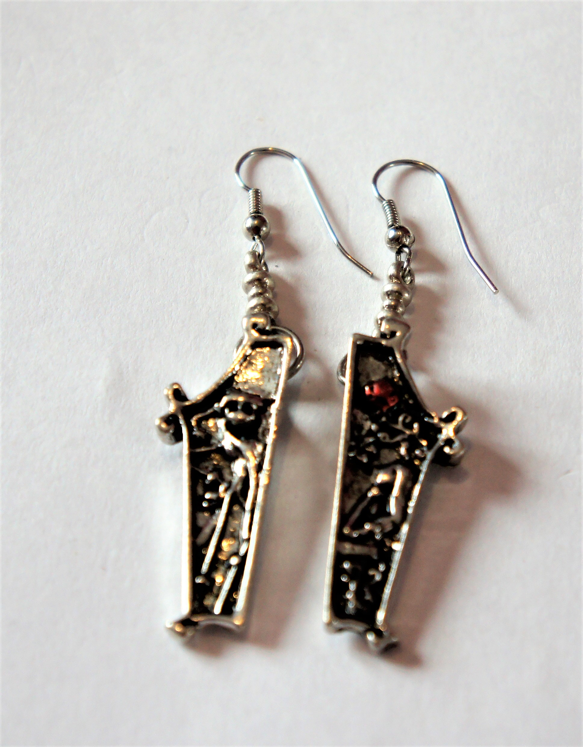 a55a663cb3e4b Silver coffin jack and Sally Nightmare before Christmas 3D earrings