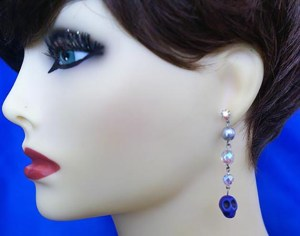 Blue skull and crystal bead earrings