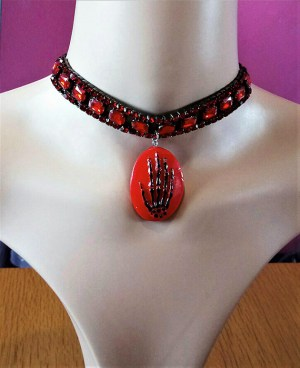 Red skeleton hand cameo and red jewel choker necklace