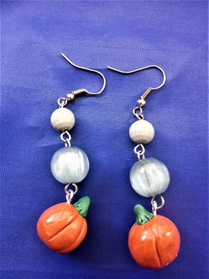 Pumpkin and bead earrings