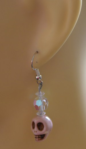 Pink Gothic Lolita skull and crystal bead earrings