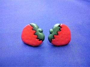 Red 3D strawberry stud earrings
