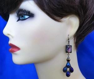 Baby Krishna and peacock jewel earrings