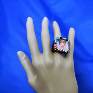 Ganesha square cameo and jewel ring