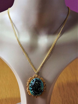 Black and green cameo lady necklace
