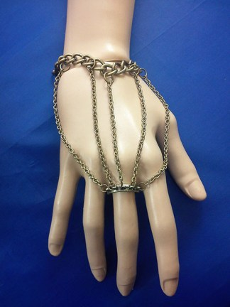 Gold chain bracelet and ring