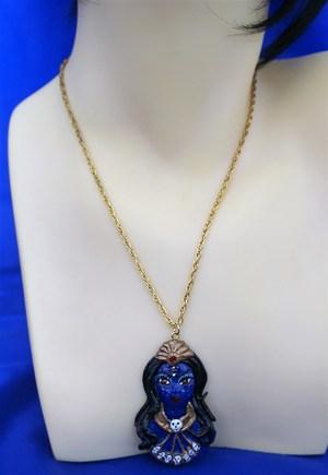 Kali colour head bust cameo necklace