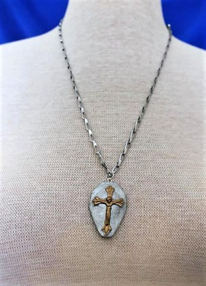 Silver and gold 3D cross cameo necklace
