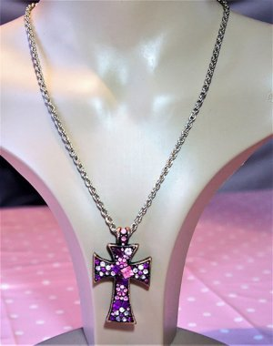 Pink jewel and copper cross necklace