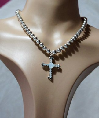 Crystal jewel cross and bead necklace