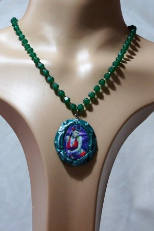 Green zombie pin up cameo necklace