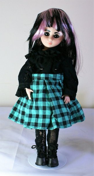 Gothic Lolita black and green tartan dress