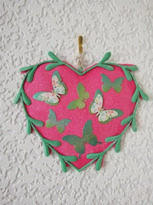 Pink butterfly fantasy heart wall plaque
