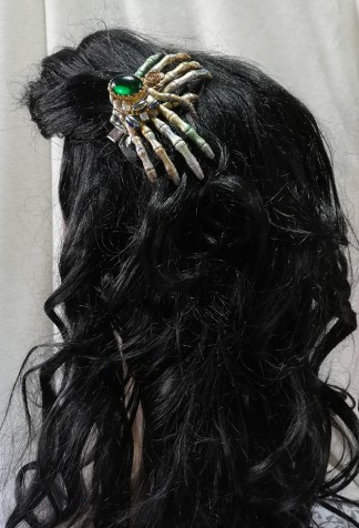 Steampunk and green jewel cameo skeletal hand hair clip