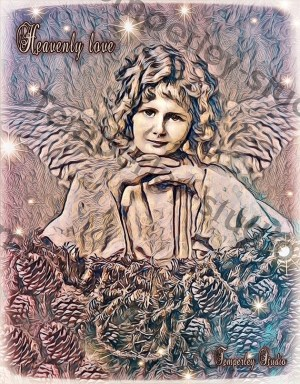 Heavenly love angel Christmas card