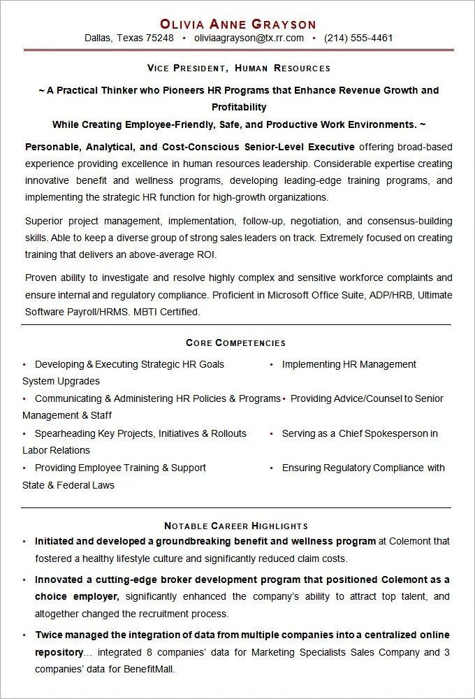 Resume For Hr Executive. Executive Hr Resumes Hr Executive Resume