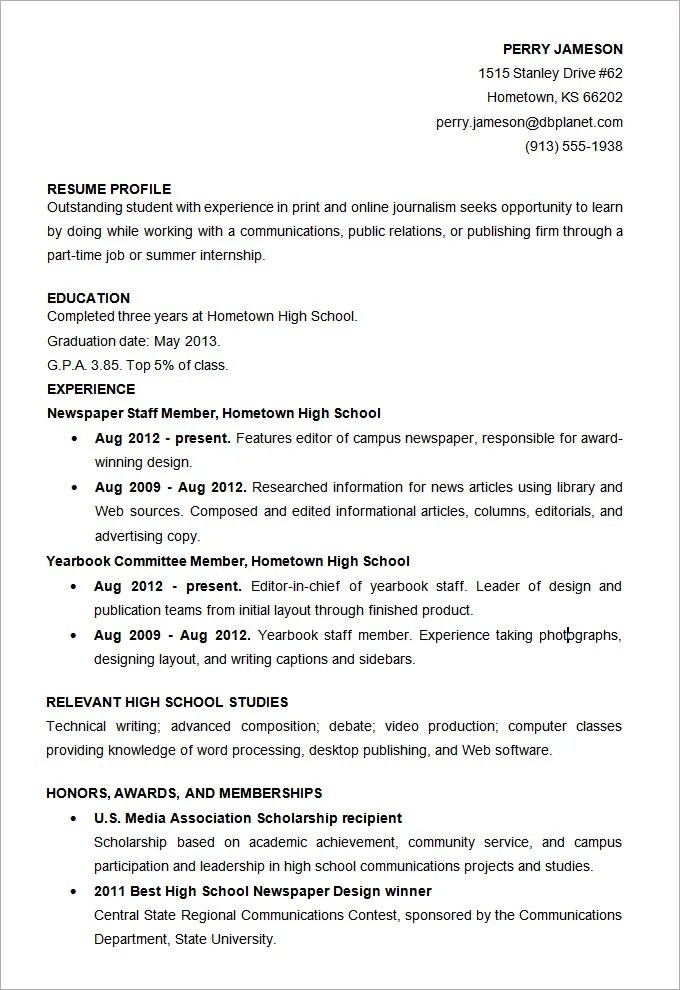High School Student Resume Template Word. For High School Student