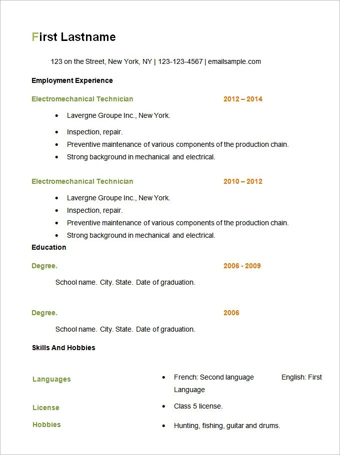 Resume Printable Examples. For Free There Are Many Other Sample Of