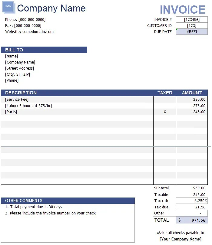 Simple Invoice Template Excel. 20 Best Spreadsheet Templates