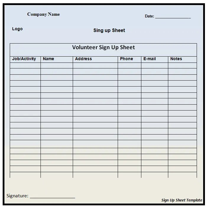 Sign Up Templates 21 sheet free word excel pdf documents sample – Simple Sign Up Sheet Template