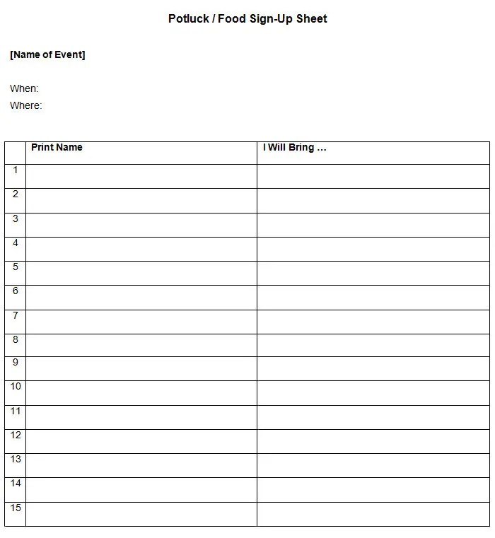free. party sign up sheet template party sign up sheet template ...