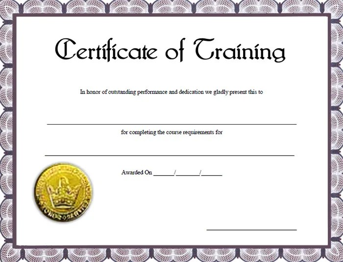 Free Training Certificate Template best photos of professional – Certificate of Completion of Training Template