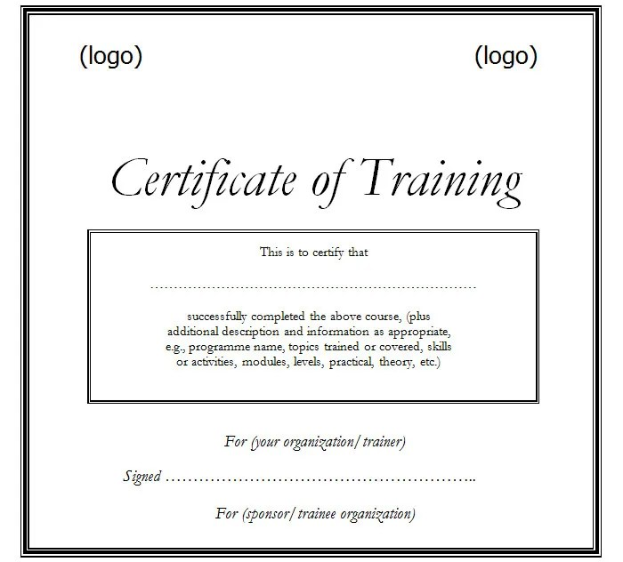 Training Certificates Templates. Certificate Templates On