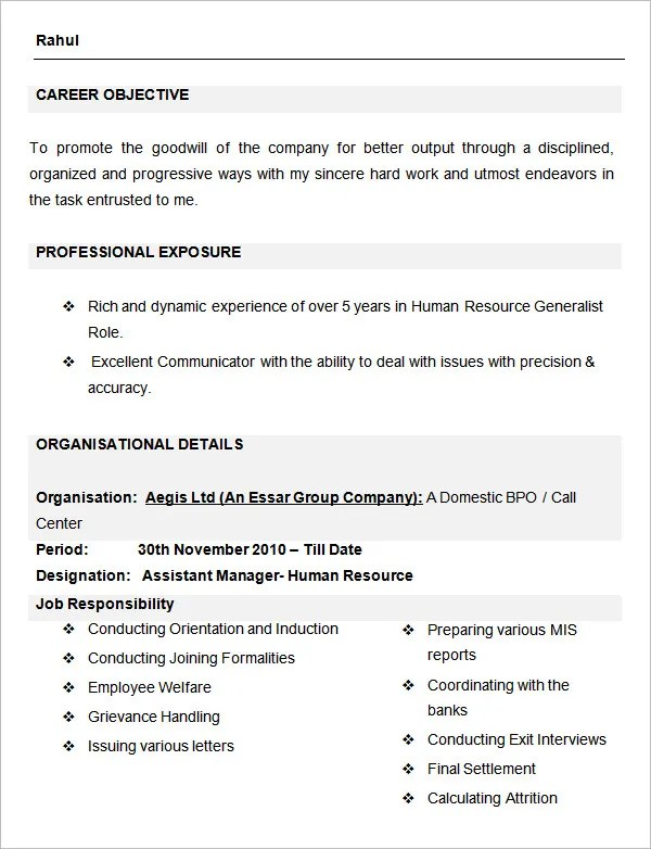 Human Resources Resumes hr manager and compensation specialist resume Assistant Manager Human Resource Sample Resume