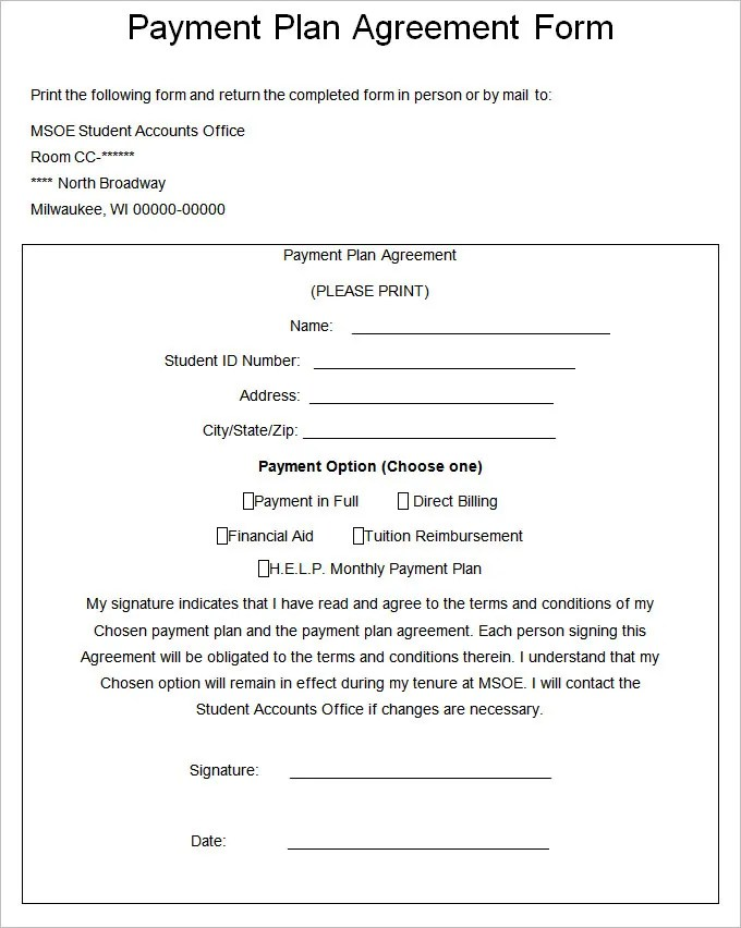 8 pay agreement template letter template word plan