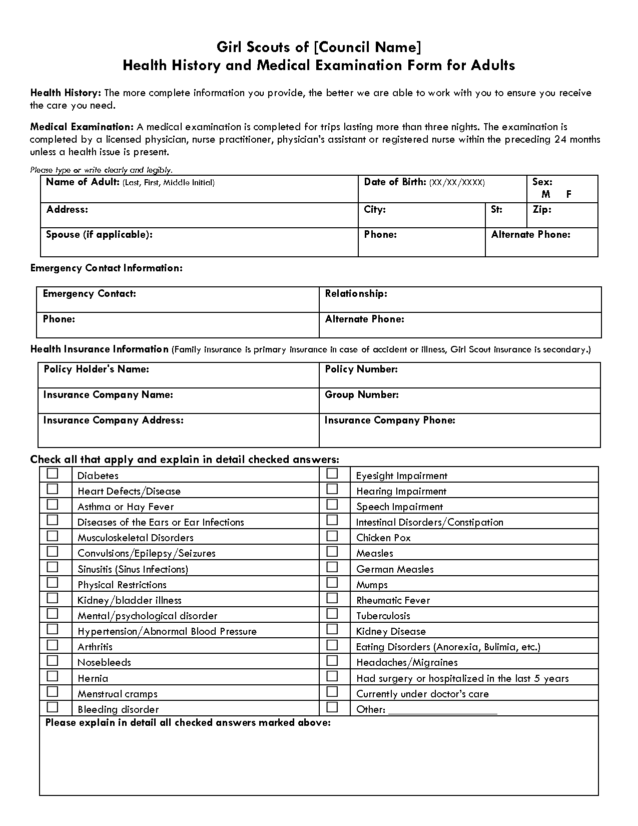 Medical Examination Form Templates Free Printable