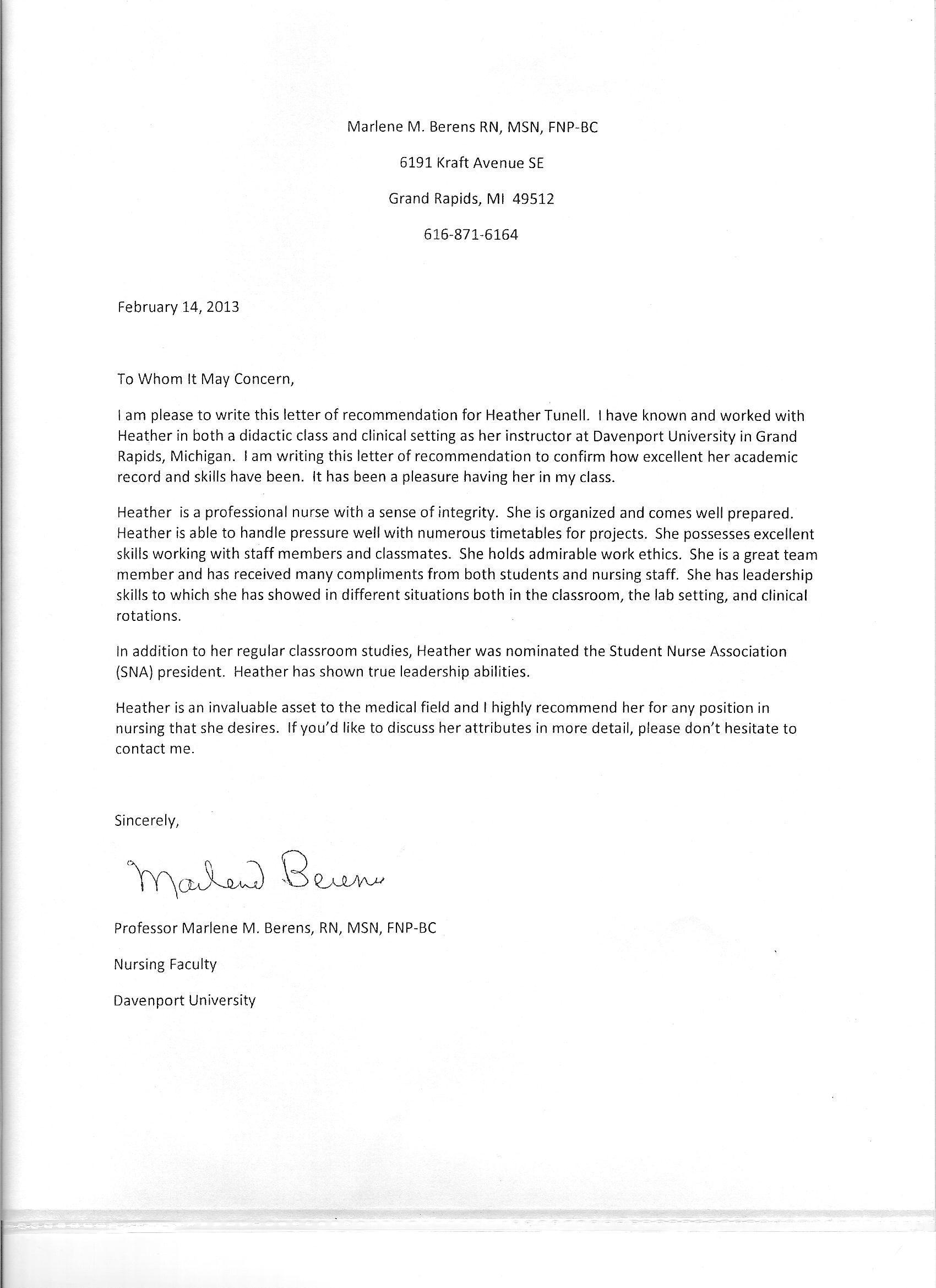 Recommendation Letter Nursing School Templates Free