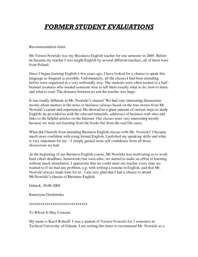 Recommendation Letter Template For