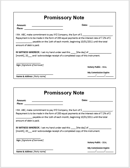Doc Promissory Note Template Microsoft Word Promissory Note – Promissory Note Word Template