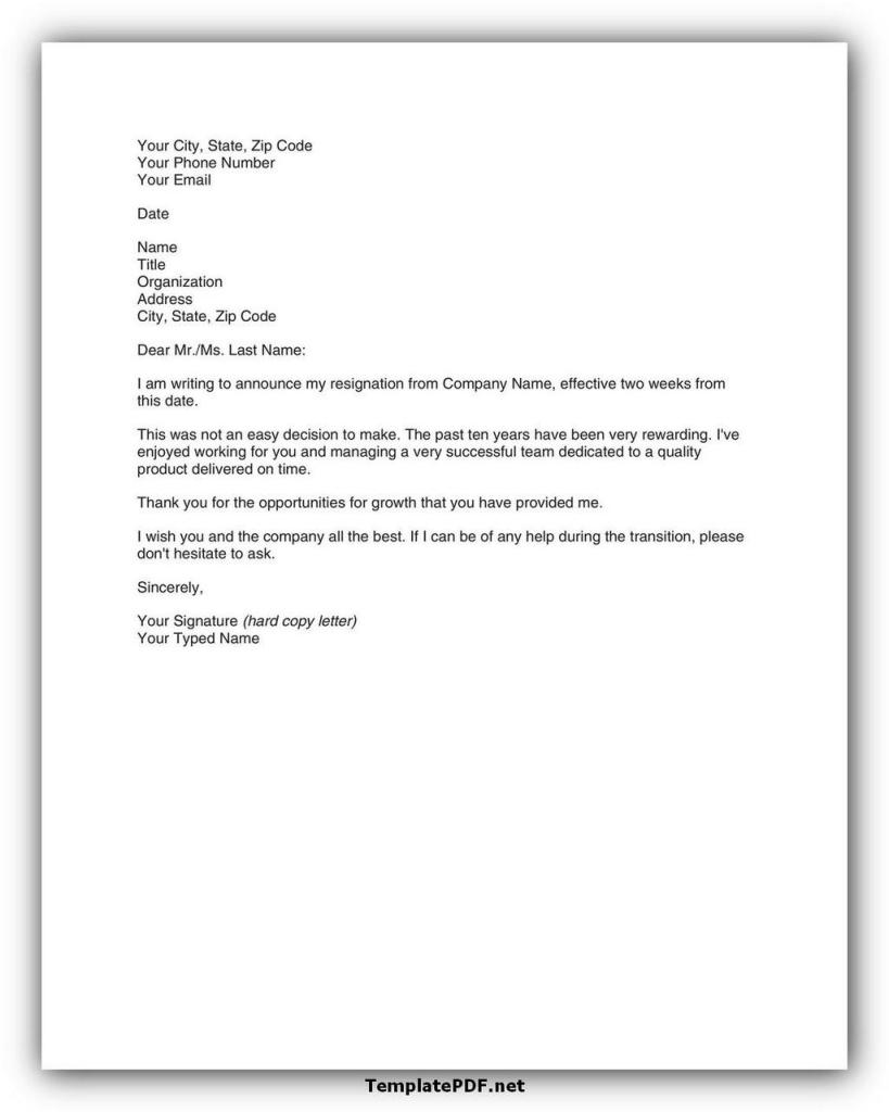 Two weeks notice Template 13