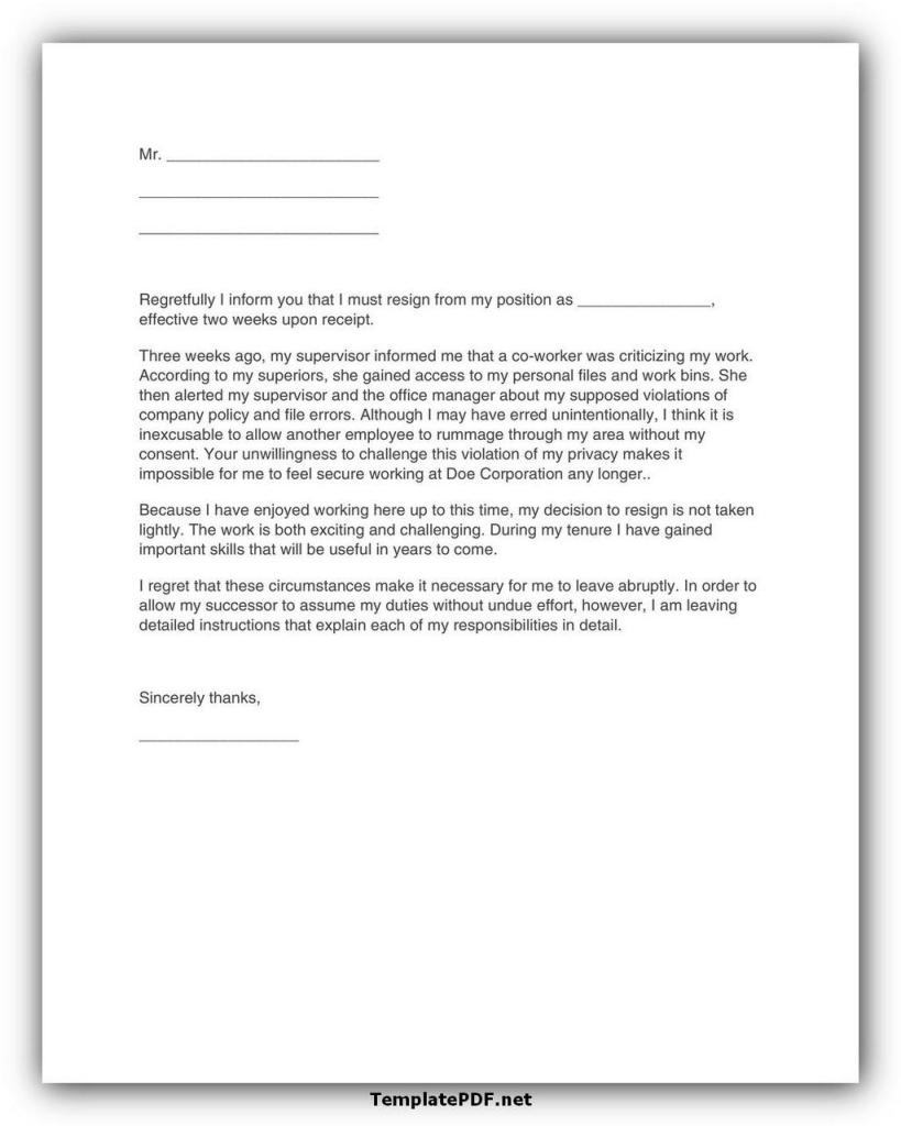 Two weeks notice Template 24