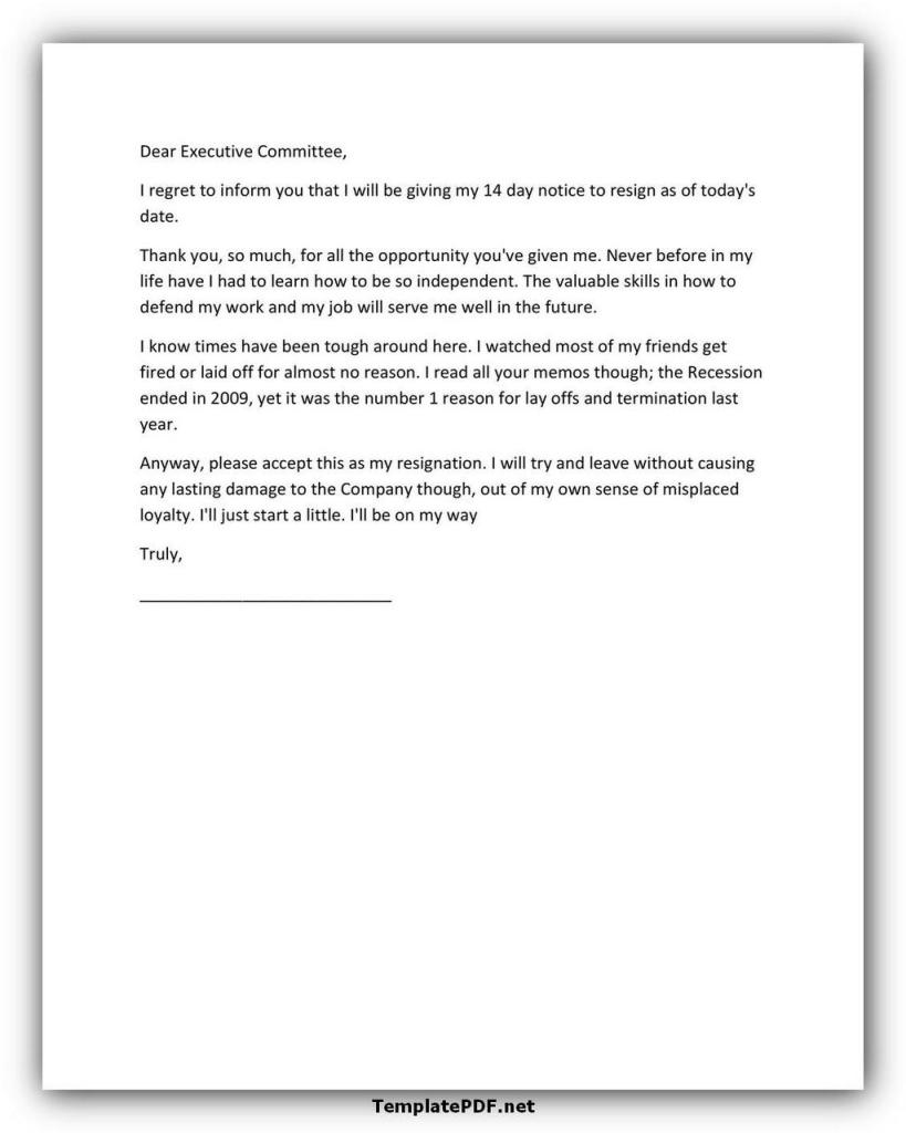 Two weeks notice Template 35
