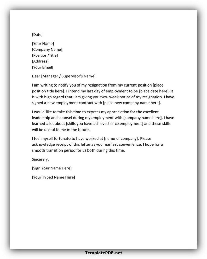 Two weeks notice Template 37