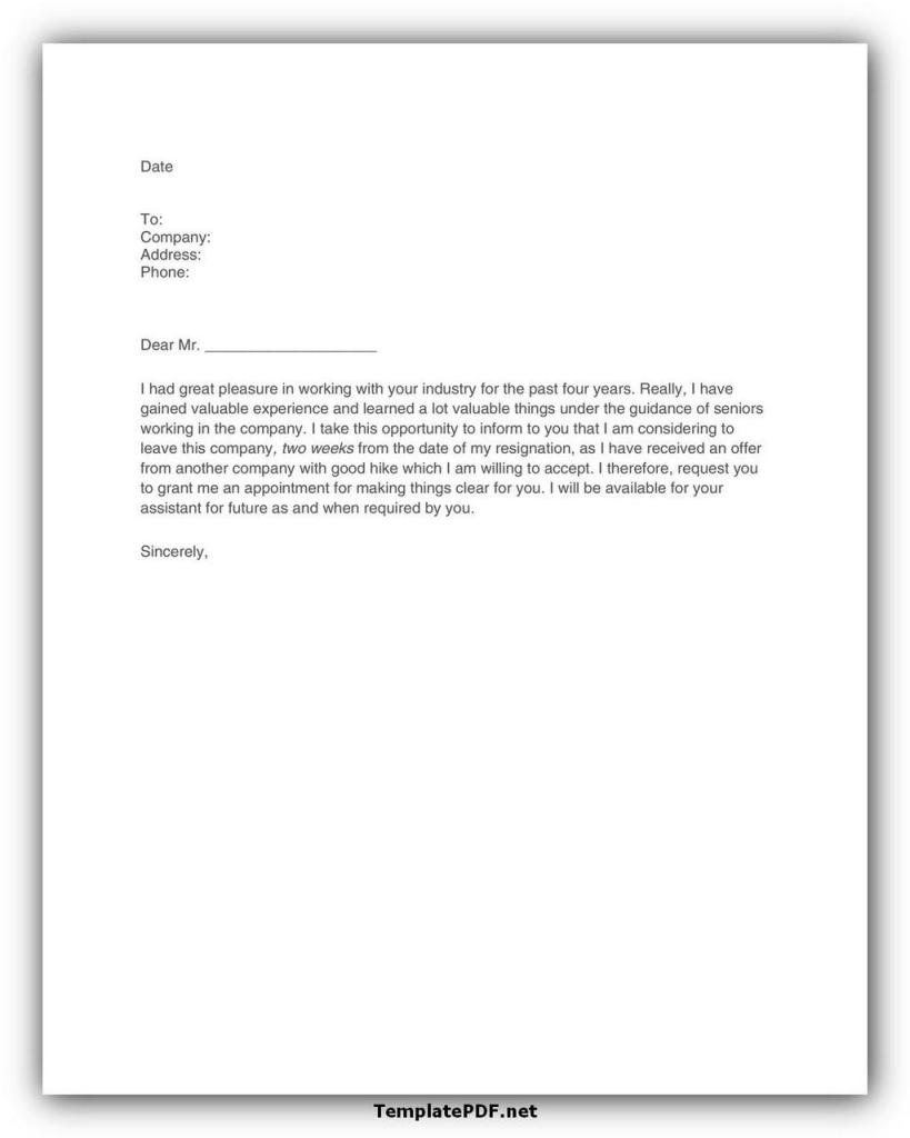 Two weeks notice Template 39