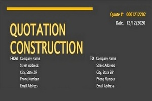 Construction Quotation Template Featured