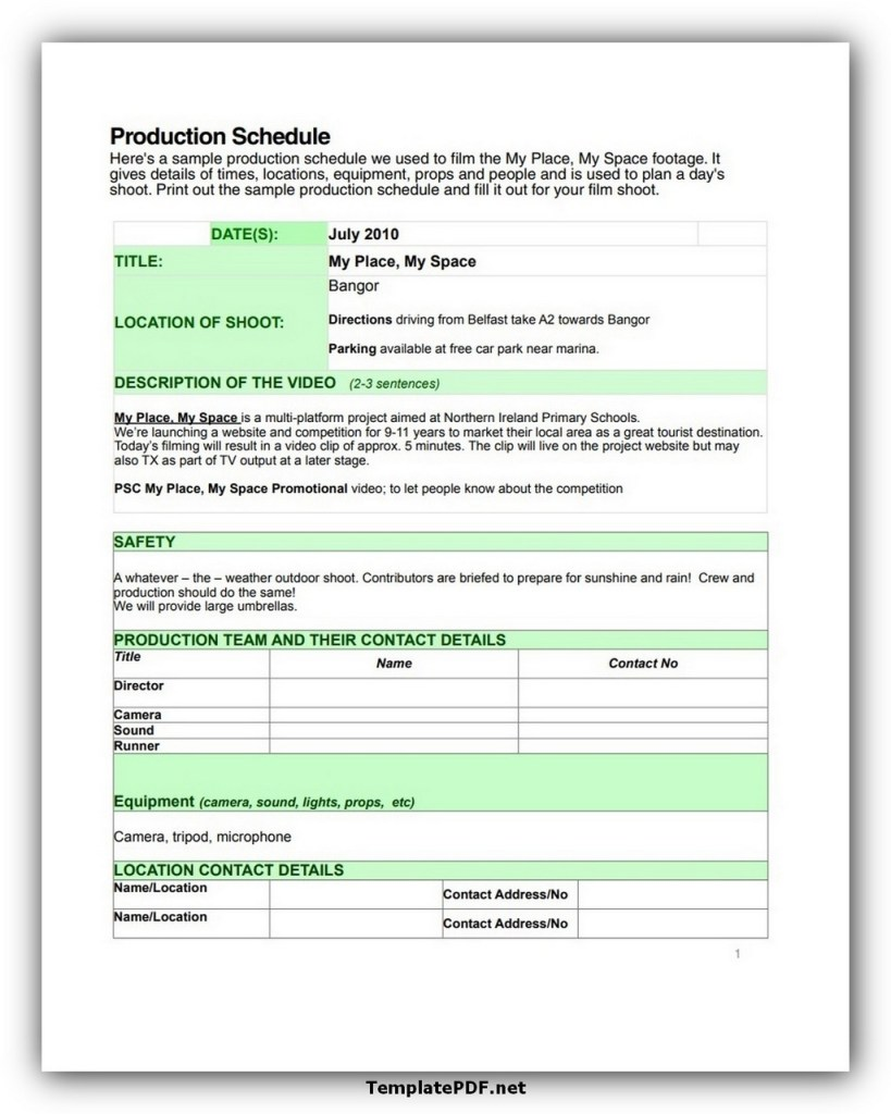 Film Production Shooting Schedule Template