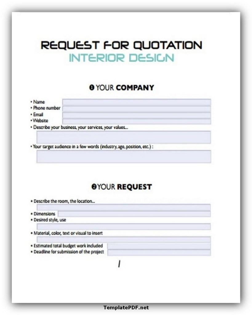 Request For Quotation Interior Design Template