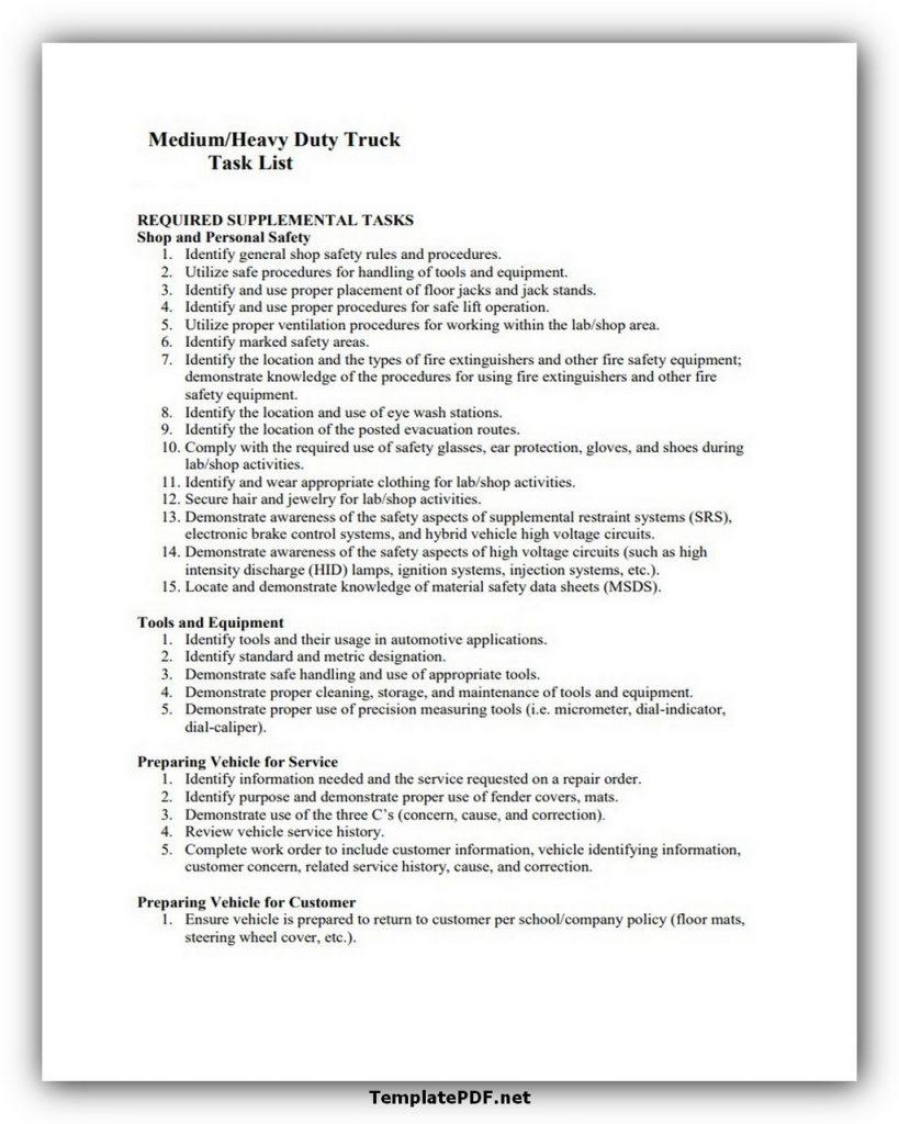 Truck Task List Example
