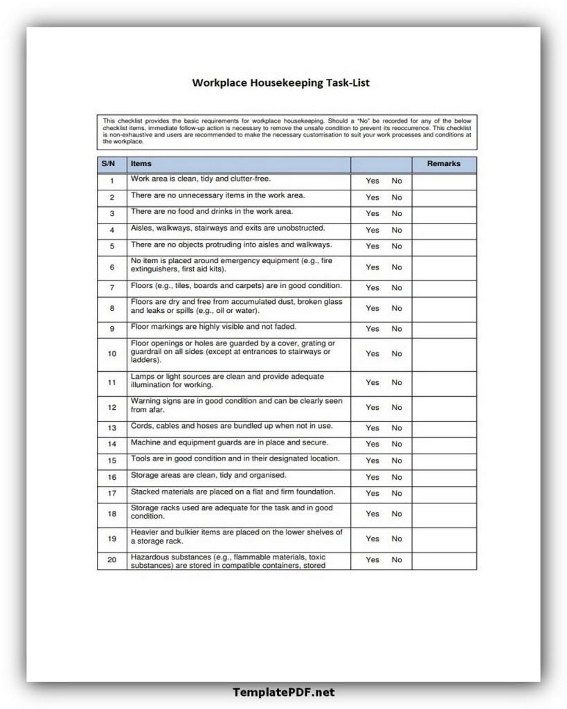 Workplace Housekeeping Task List