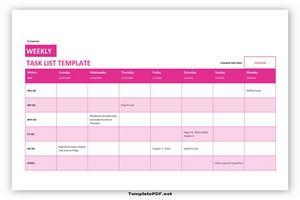 weekly task list template 1