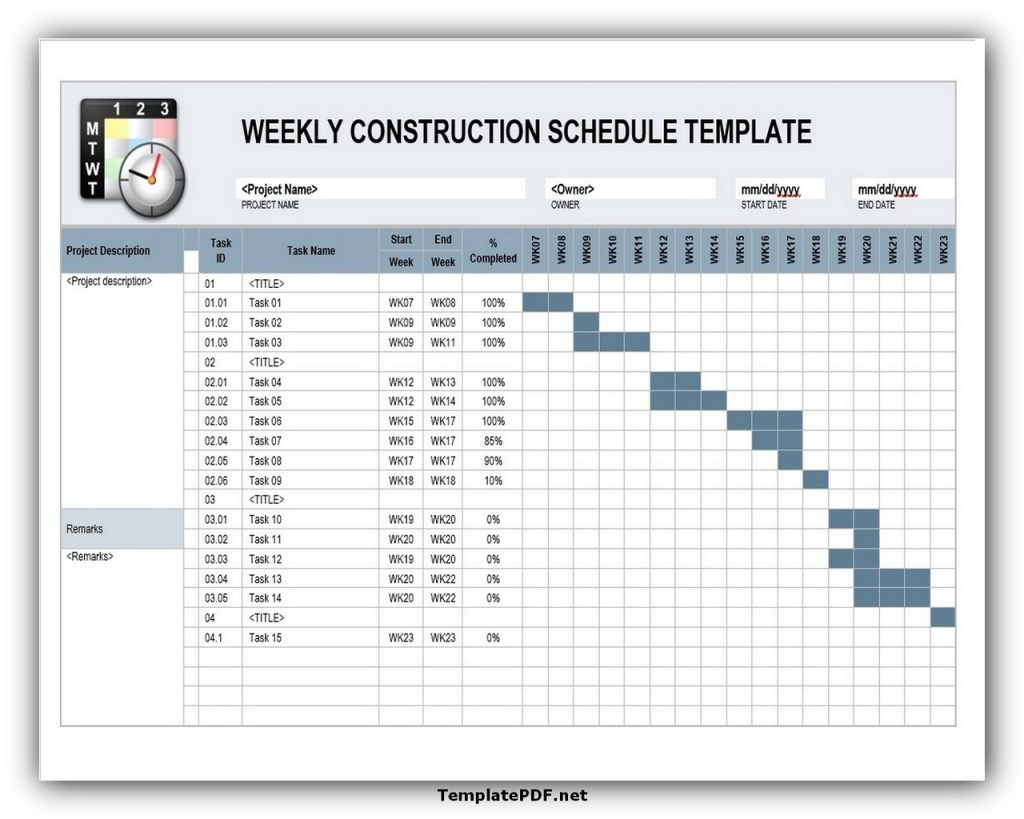 Weekly Construction Schedule Template PDF