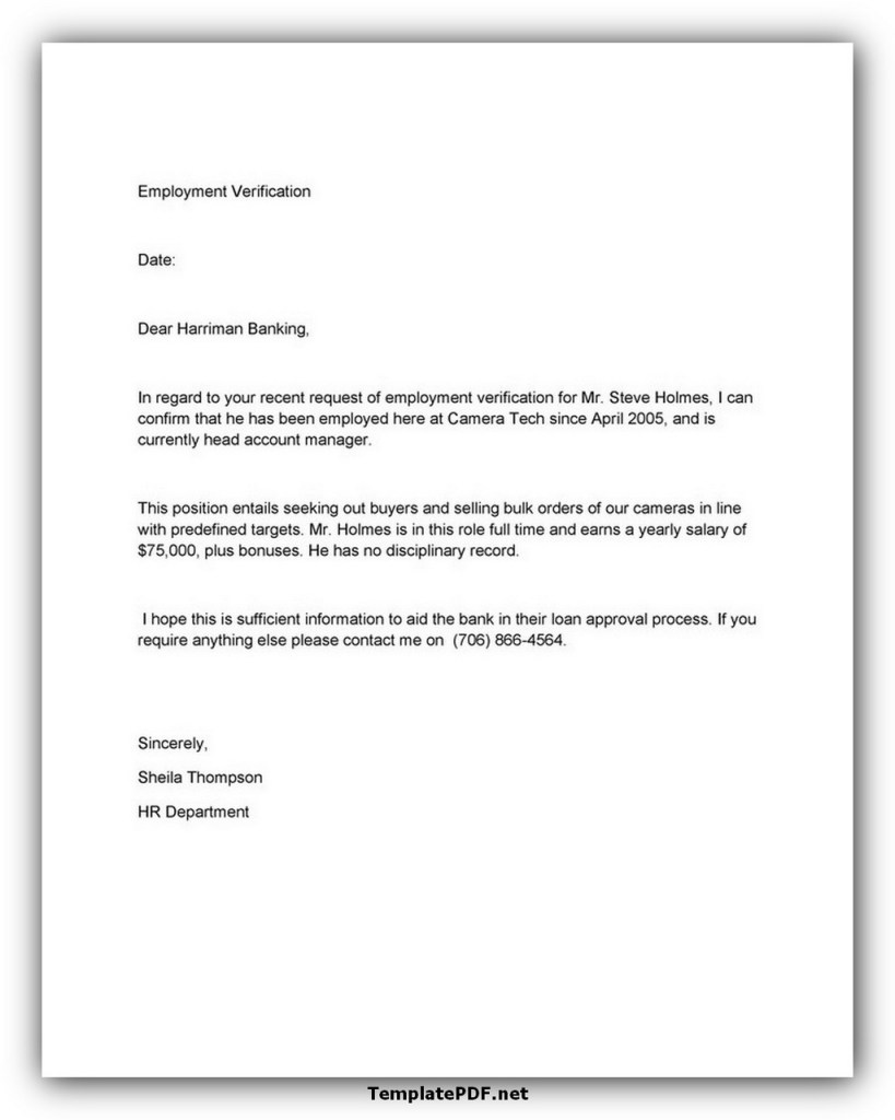 Confirmation of Employment Letter For Bank 02