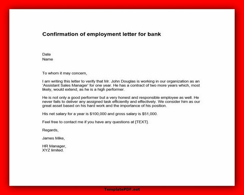 Confirmation of employment letter for bank pdf