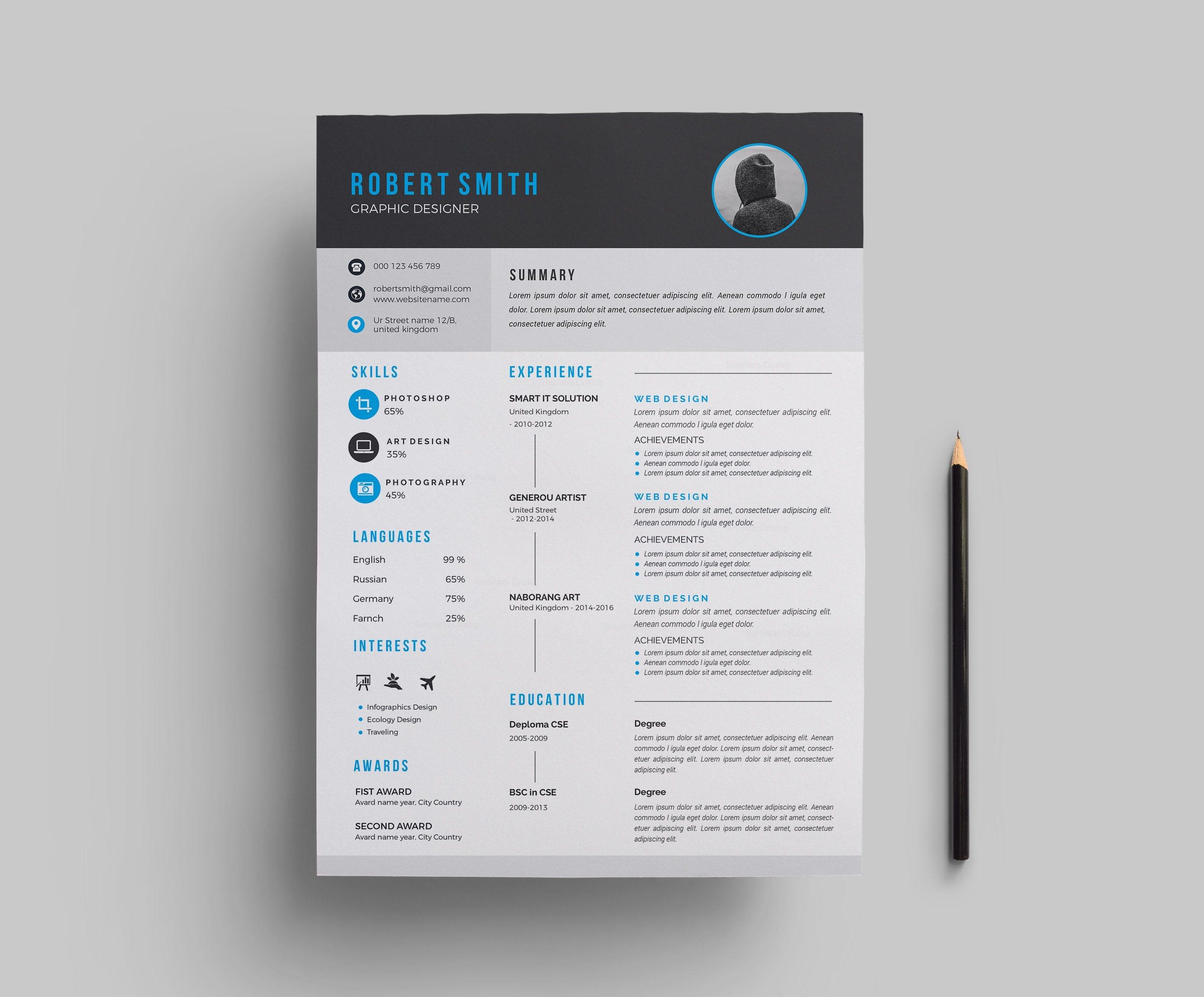 Modern Resume Template Design 000699