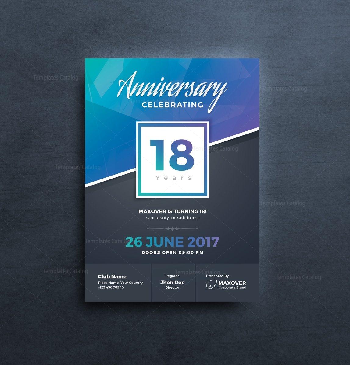Apollo Elegant Anniversary Invitation Template 001125