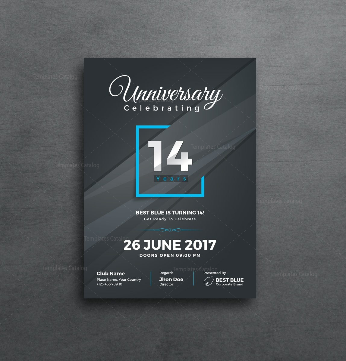 Artemis Stylish Anniversary Invitation Template 001129 Template Catalog